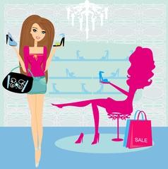 Fashion girls shopping in shoe shop vector