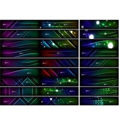 Glowing shapes on dark background set of vector image