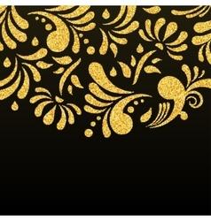 Gold glitter floral invitation card vector