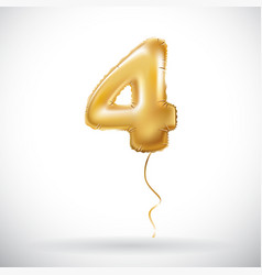 Golden 4 number four metallic balloon party vector
