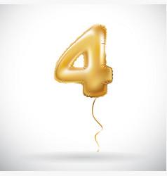golden 4 number four metallic balloon party vector image