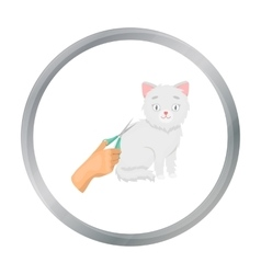 Grooming of a cat icon in cartoon style isolated vector