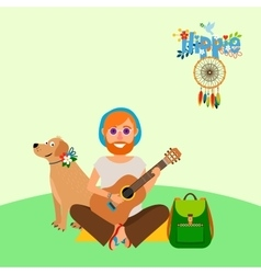 Hippie barefoot man with dog vector image