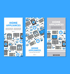 Home appliance sale poster banner set vector