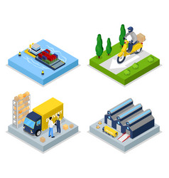 isometric delivery concept worldwide shipping vector image vector image