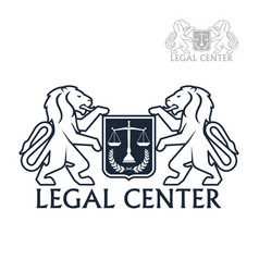 Legal center icon of heraldic lions laurel vector