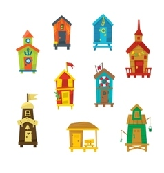Little beach cabins cute set vector