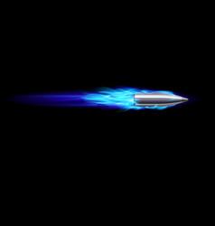Moving blue fiery gun bullet shot on black vector