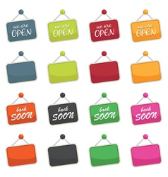 open and closed signs vector image vector image