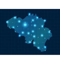 Pixel belgium map with spot lights vector