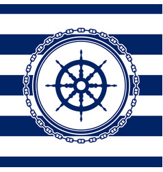 Round marine emblem with ships wheel vector