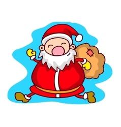 Run Santa Claus with gift bag Christmas theme vector image