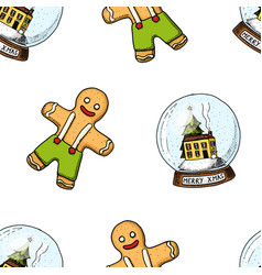 seamless pattern snow globe and gingerbread merry vector image