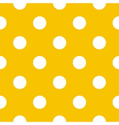 Seamless white polka dots on yellow background vector