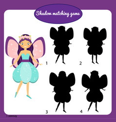 shadow matching game kids activity with beautiful vector image vector image