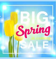 Spring is coming with big sale spring flower vector