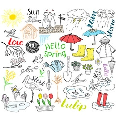 Spring season set doodles elements Hand drawn vector image