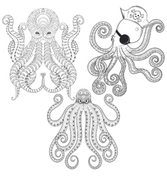 Tattoo Octopus set Hand drawn zentangle tribal vector image