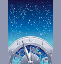vintage clock elements on color background - vector image