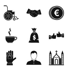 World philanthropy icons set simple style vector