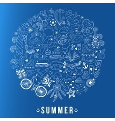 Summer heart design made of doodle season icons vector
