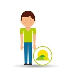 boy cartoon save earth icon vector image
