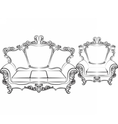 Royal sofa and armchair set vector