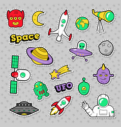 Space ufo robots and aliens badges stickers vector