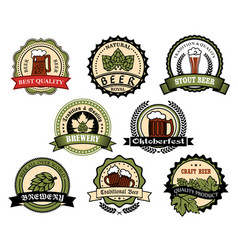 Craft beer ale lager alcohol drinks label set vector