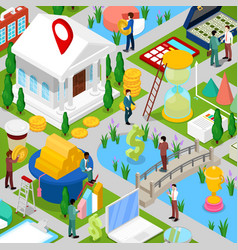 Isometric business city with financial items vector