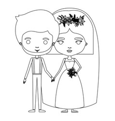 Silhouette caricature newly married couple groom vector