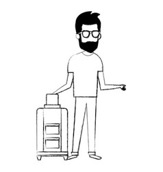 man with suitcase character vector image