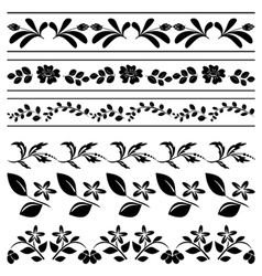 Floral borders - black tracery vector