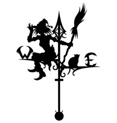 Halloweens weathervane with silhouette of a witch vector