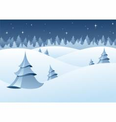Winter woodland scenery vector