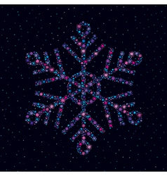 Snowflake made of bright stars vector