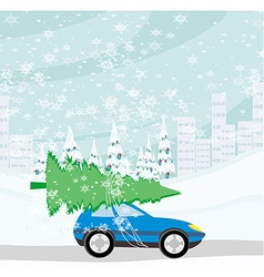 Car with a christmas tree on the roof vector