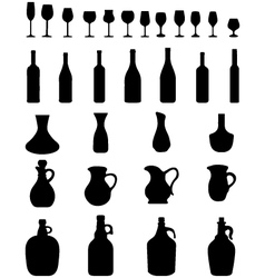 Wine glasses and bottles vector