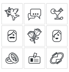 Speed dating icons vector