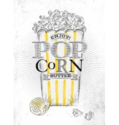 Poster popcorn butter vector