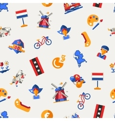 Flat design holland travel icons infographics vector