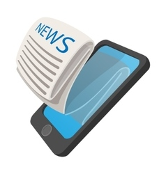 Online reading news using smartphone cartoon icon vector