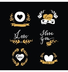 Set of design elements with hearts ribbins and vector