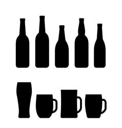 Black beer bottle and mug set vector