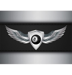 Number eight black ball and shield with wings vector image
