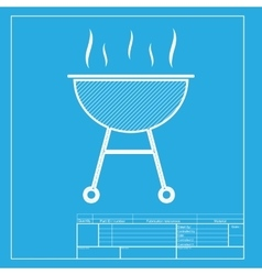 Barbecue simple sign white section of icon on vector