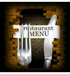 Restaurant menu knife and fork for brick wall vector