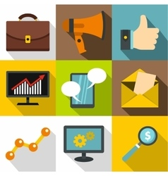 Advertising icons set flat style vector image vector image