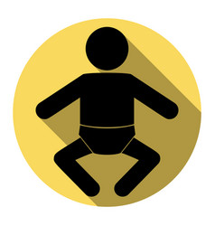 Baby sign flat black icon vector