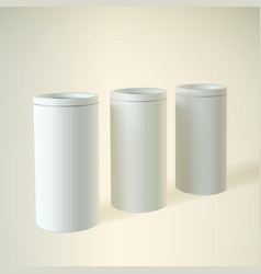 Blank white round tube or box vector image